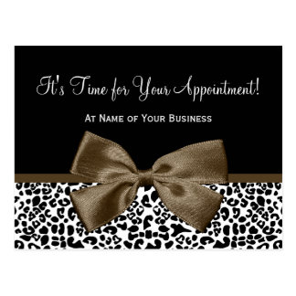 Brown Leopard Print Salon Appointment Reminder Postcard