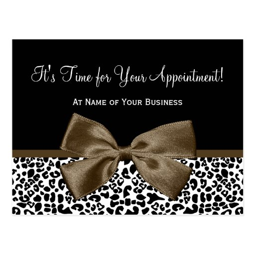 Brown Leopard Print Salon Appointment Reminder Post Cards
