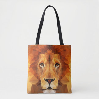 Brown Lion Head All Over Print Tote Bag
