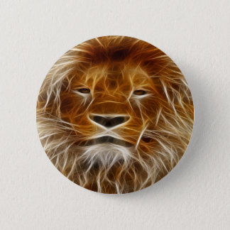Brown Lion Head Print Pin On Button