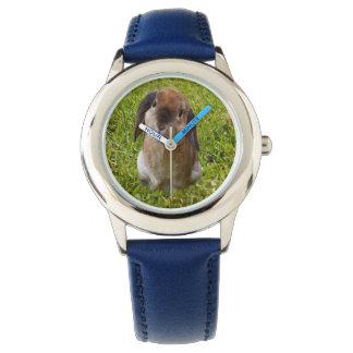 Brown Lop Ear Bunny , Kids Blue Leather Watch