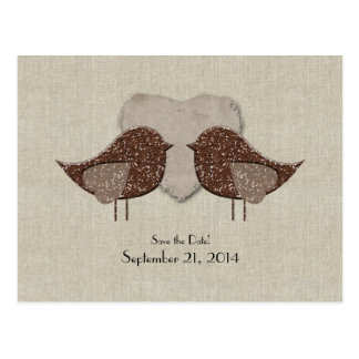 Brown Lovebirds Linen Look Save the Date Postcard