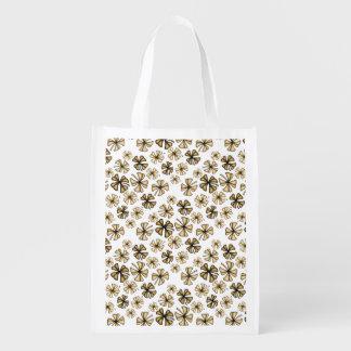 Brown Lucky Shamrock Clover Reusable Grocery Bag