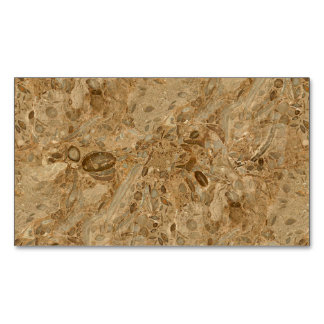 Brown Marble Fossil Look Magnetic Business Cards