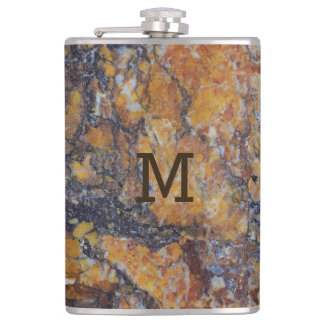 Brown Marble Stone Print Hip Flask