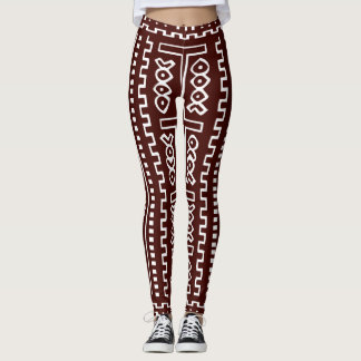 Brown Maxi Mudcloth Print Leggings