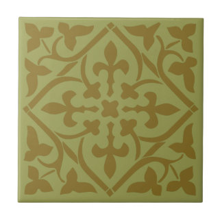 Brown medieval style Ornament Ceramic Tile