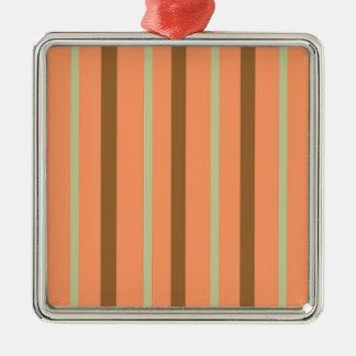 Brown Melon Stripe Metal Ornament