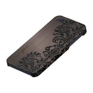 Brown Metallic Brushed Aluminum & Floral Damasks Case For iPhone 5/5S