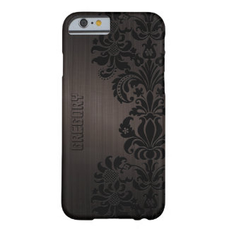 Brown Metallic Brushed Aluminum & Floral Lace Barely There iPhone 6 Case