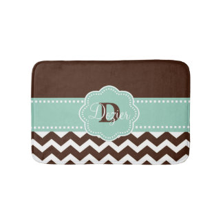 Brown Mint Chevron Monogram Bath Mat
