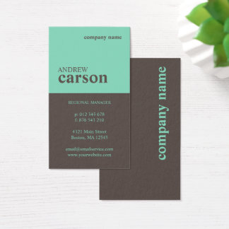 Brown & Mint Colorblock Business Card