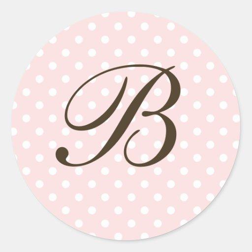 Brown Monogram B On Polka Dot Favor Labels Round Stickers