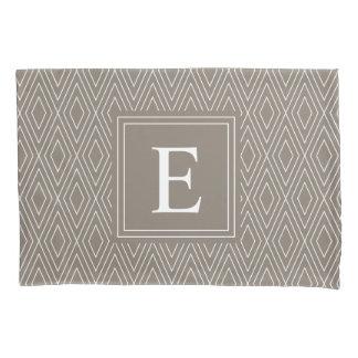 Brown Monogram Diamond Pattern Pillowcase