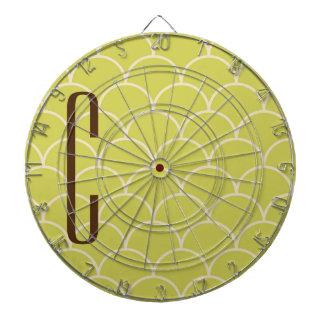 Brown Monogram on Retro Green Pattern Dart Boards