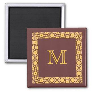 Brown Monogrammed Stateroom Door Marker Square Magnet
