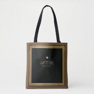 brown monogrammed tote bag with faux gold hearts