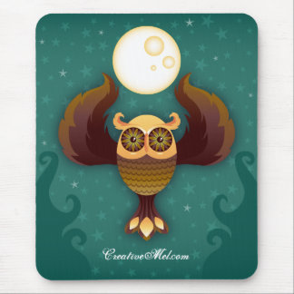 Brown Moon Owl Mousepad