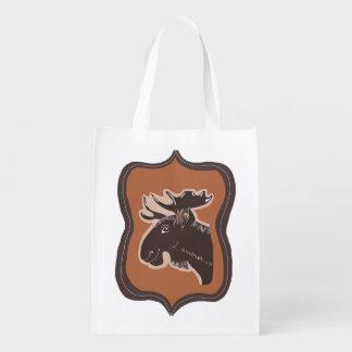 Brown Moose with Vintage Border Reusable Bag