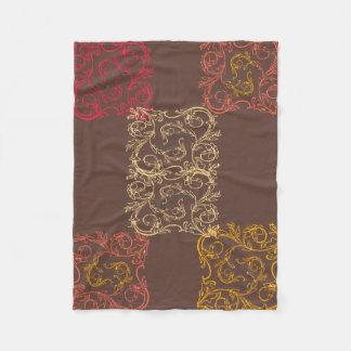 Brown multicolor ivy scroll fleece blanket