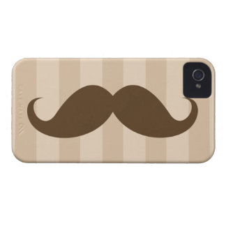 Brown mustache and stripes iPhone 4 case