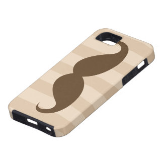 Brown mustache and stripes iPhone 5 case
