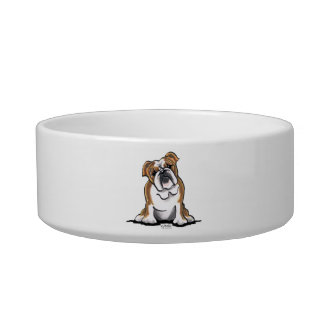 Brown n White English Bulldog Sit Pretty Bowl