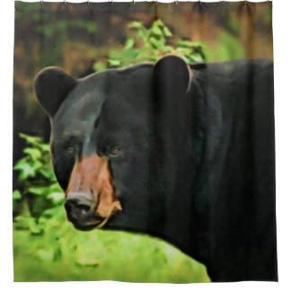 Brown Nosed Black Bear Shower Curtain