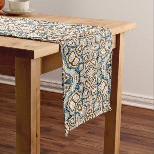 Brown Ochre Teal Blue Hip Orient Bali Art Motif Medium Table Runner