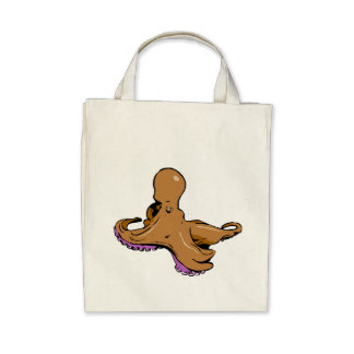 Brown Octopus Canvas Bag