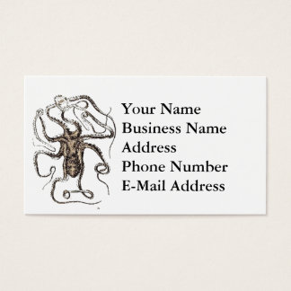 Brown Octopus Pencil Drawing Design Business Card