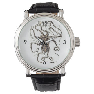 Brown Octopus Pencil Drawing Design Wristwatches