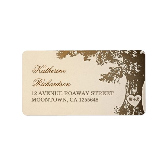 brown old tree address labels for wedding