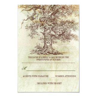 brown old tree rustic wedding RSVP cards 9 Cm X 13 Cm Invitation Card
