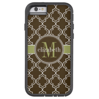 Brown Olive White Moroccan Quatrefoil Monogram Tough Xtreme iPhone 6 Case