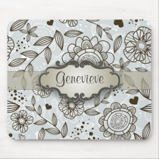 Brown on Blue Floral with Nameplate Mousepads