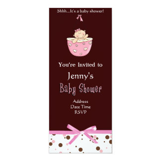 Brown on Polka Dot Pink Baby Shower Invitations