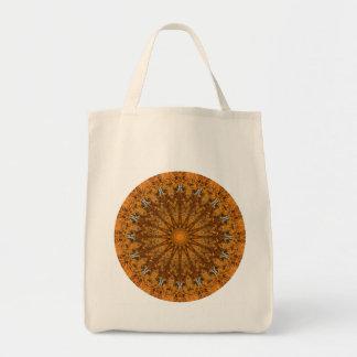 Brown, Orange, and Gold Round Mandala Tote Bag