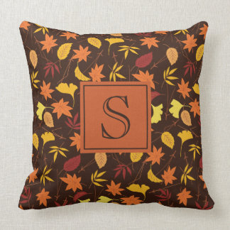 Brown Orange and Yellow Fall Leaves Monogram Cushion