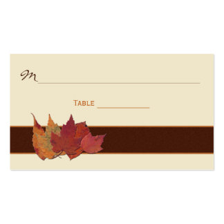 Brown, Orange, Ivory Dried Leaves Place Cards Business Card Templates