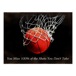 Brown Orange Motivational Quote Basketball Poster
