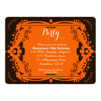 Brown Orange Ornate Birthday Party Invitations