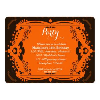 Brown Orange Ornate Birthday Party Invitations