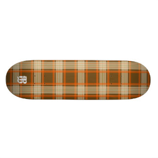 Brown & Orange Plaid Custom Skate Board
