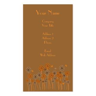 Brown & Orange Retro Flower Garden Customizable Business Card Templates
