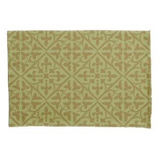 Brown Ornamental Medieval Pattern Pillowcase