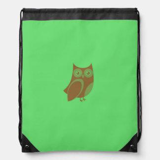 Brown Owl Drawstring Backpack