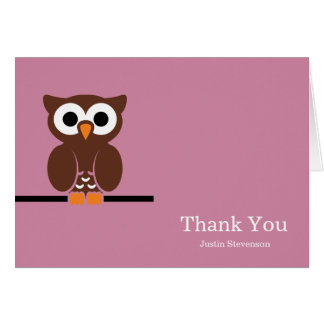 Brown Owl Girly Thank You Greeting Card