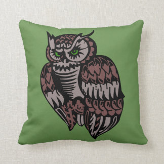 Brown Owl Green Eyes Throw Pillow