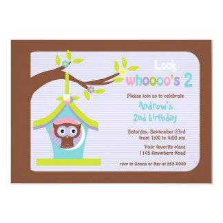 Brown Owl in Bird House Child's Birthday Card